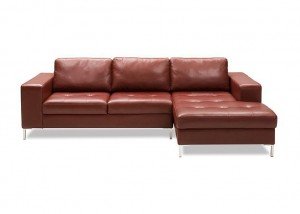 Genessa leather sofa with footrest extension